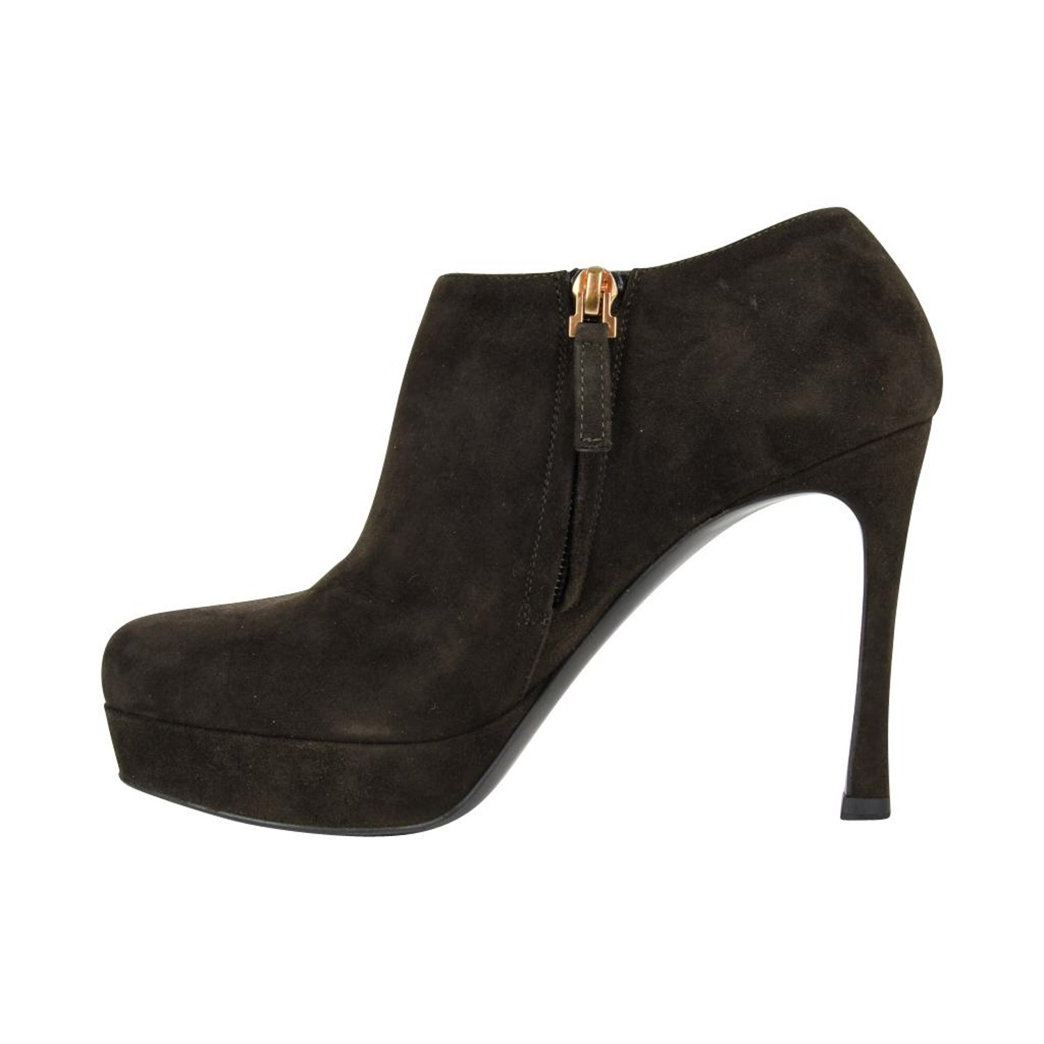 7e0191c8519 YSL Bootie Dark Green Suede Ankle Boot Yves Saint Laurent 36.5 / 6.5 For  Sale at 1stdibs