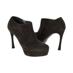 YSL Bootie Dark Green Suede Ankle Boot Yves Saint Laurent 36.5 / 6.5