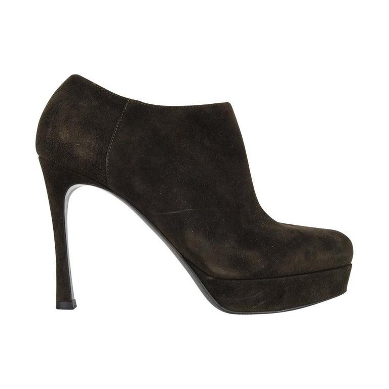 bc6805da YSL Bootie Dark Green Suede Ankle Boot Yves Saint Laurent 36.5 / 6.5