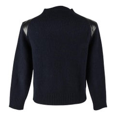 Celine Navy Crew Pullover mit Schultern aus schwarzem Leder M