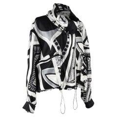 Emilio Pucci Jacket Silk Windbreaker Rear Zipper Front Snaps Drawstring 12