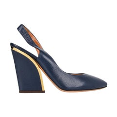 Chloe Shoe Slingback Shaped Block Heel Dark Royal Blue Gold Detail  39 / 9  new