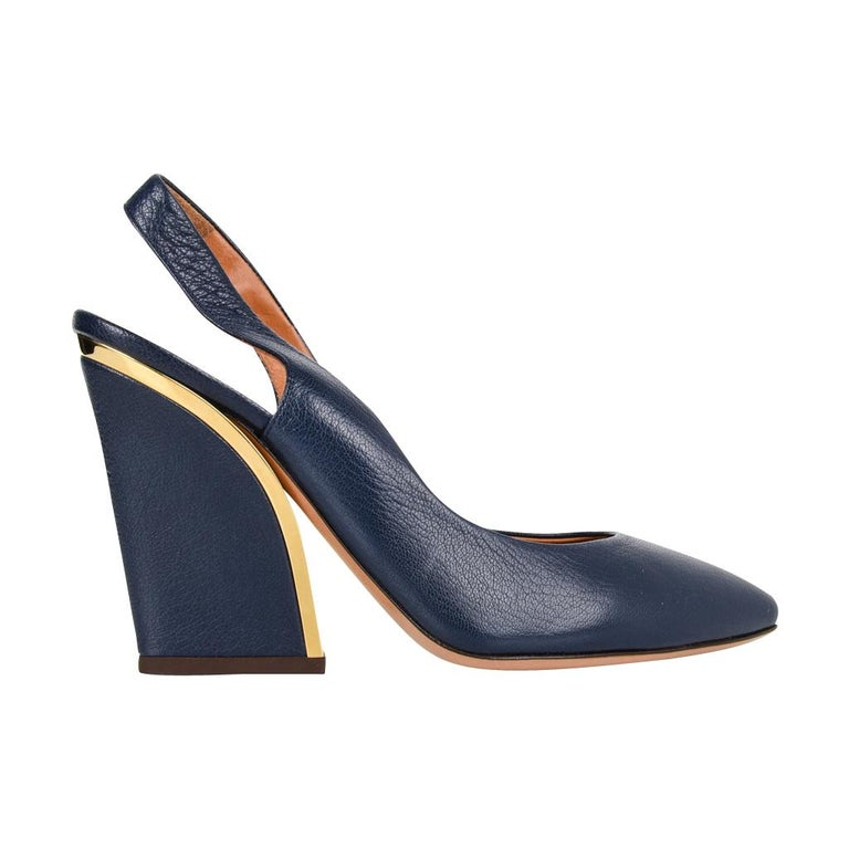 178d7bf97be6 Chloe Shoe Slingback Shaped Block Heel Dark Royal Blue Gold Detail 39   9  new For