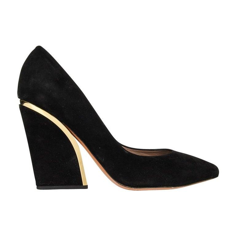 Chloe Shoe Block Heel Pump Jet Black Suede Gold Detail  39 / 9