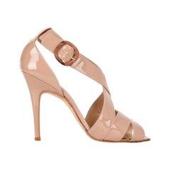Manolo Blahnik Shoe Patent Leather Bold Straps Fleshy Pink Mint  37.5 / 7.5