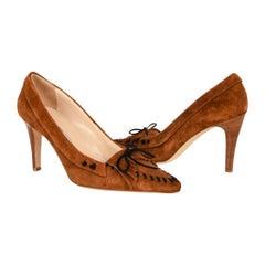 Manolo Blahnik Shoe Warm Nutmeg Brown Suede Pump Fringe 38.5 / 8.5