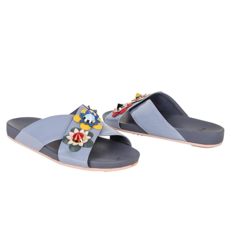 e39d09395 Fendi Shoe Floral Applique Criss Cross Slide 39 / 9 at 1stdibs