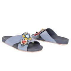 Fendi Shoe Floral Applique Criss Cross Slide 39 / 9