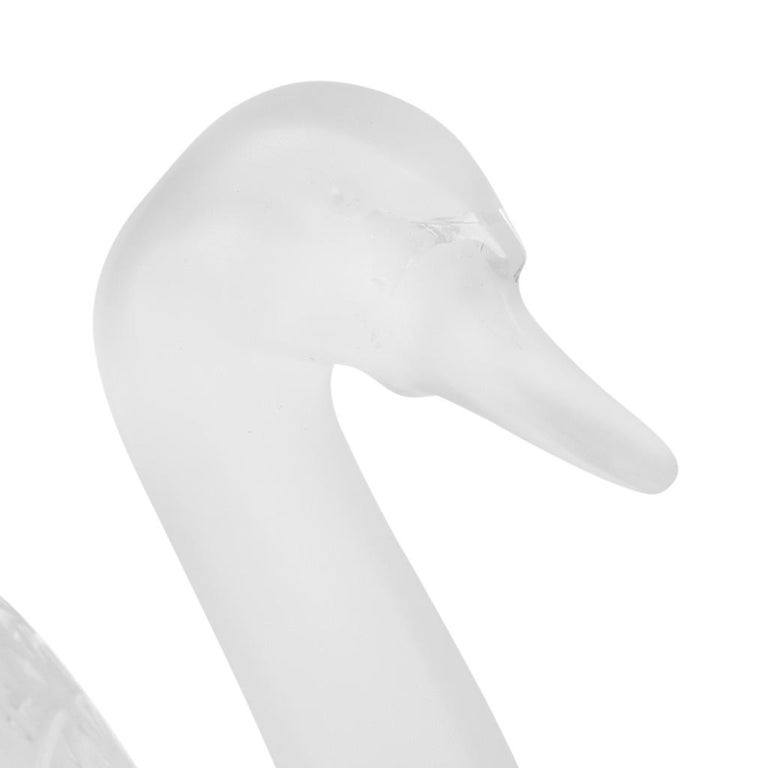 Gray Lalique Swan Head Up Pure Crystal Sculpture For Sale