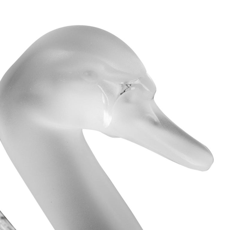 Lalique Swan Head Up Pure Crystal Sculpture For Sale 3