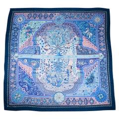 Hermes Scarf Shawl GM Blue Aux Portes Du Palais Cashmere and Silk 140cm