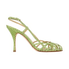 Dolce&Gabbana Shoe Green Snakeskin Strappy 37.5 / 7.5 Mint