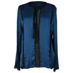 Lanvin Top Blue Tunic with Black Dentelle Lace 42 / 8