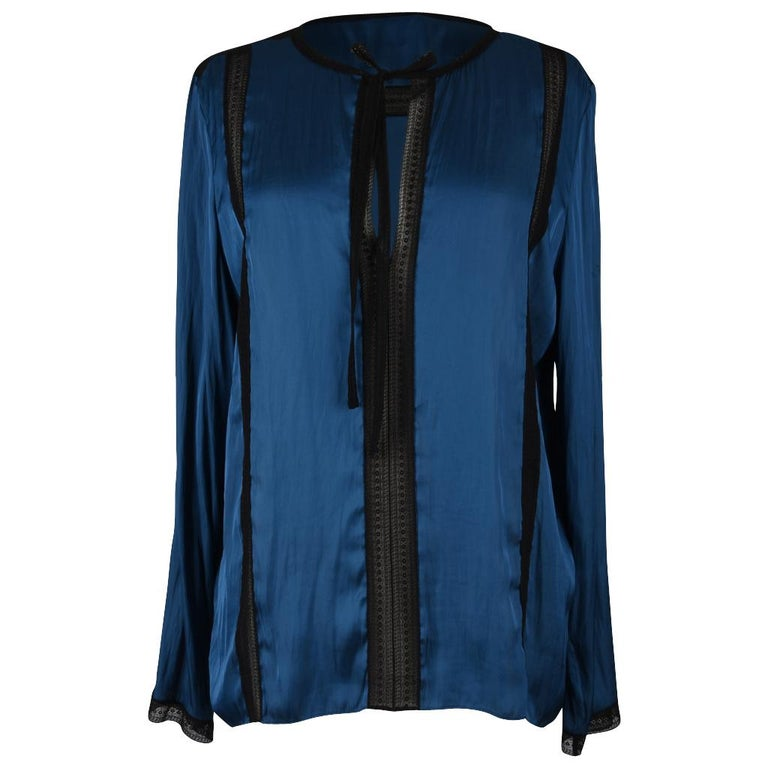 7ed2b1a681c Lanvin Top Blue Tunic with Black Dentelle Lace 42   8 For Sale