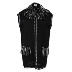 Chanel 14S Vest Black Tweed Fringed Zip Front 42 / 12