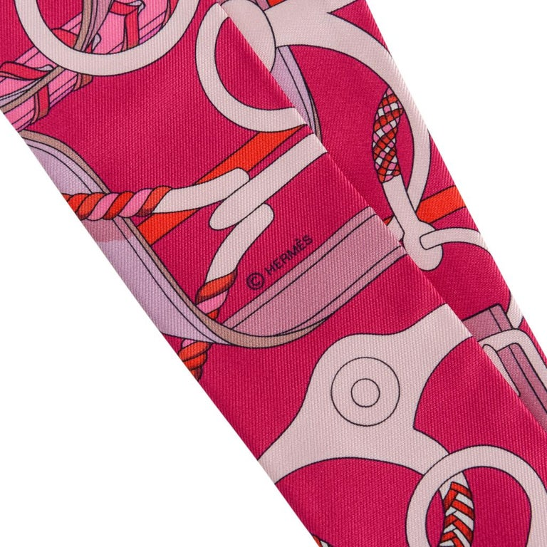 Hermes Twilly Silk Panoplie Equestre Fuchsia Rose Rouge Set Of 2 At 1stdibs