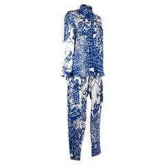 Pucci Pant Set White w/ Blue Floral Print 12