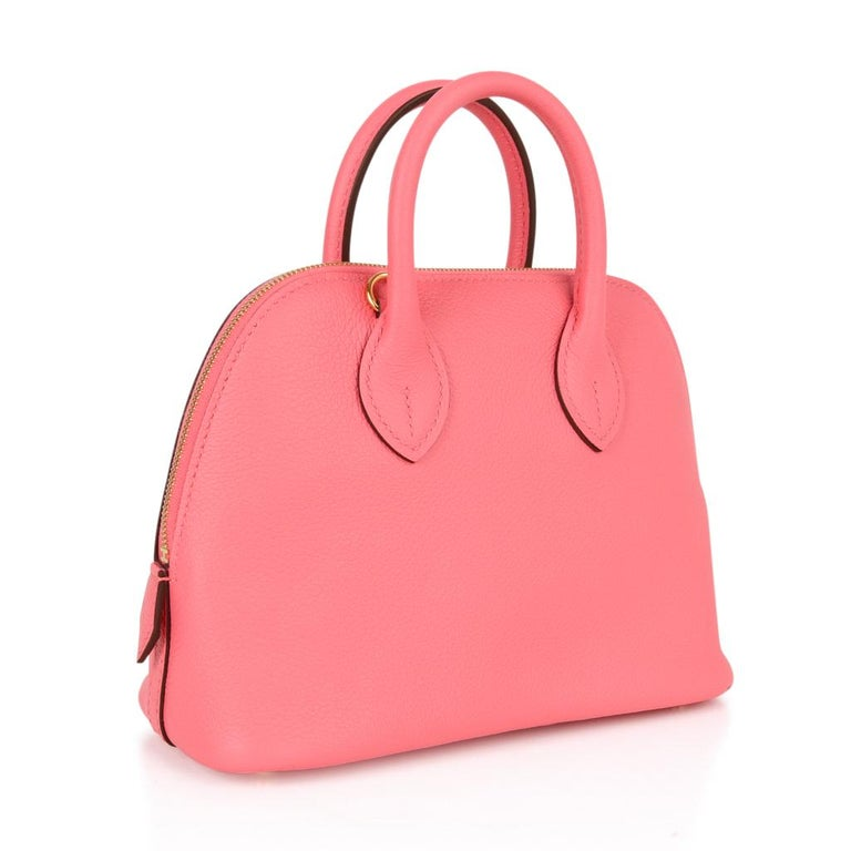 Guaranteed authentic Hermes Bolide 1923 Mini Bag in Rose Azalee.   Charming 'baby' Bolide is a fabulous day to evening treasure. Exquisite in Evercolor leather with gold hardware. Comes with strap and sleepers. NEW or NEVER WORN. final sale  BAG