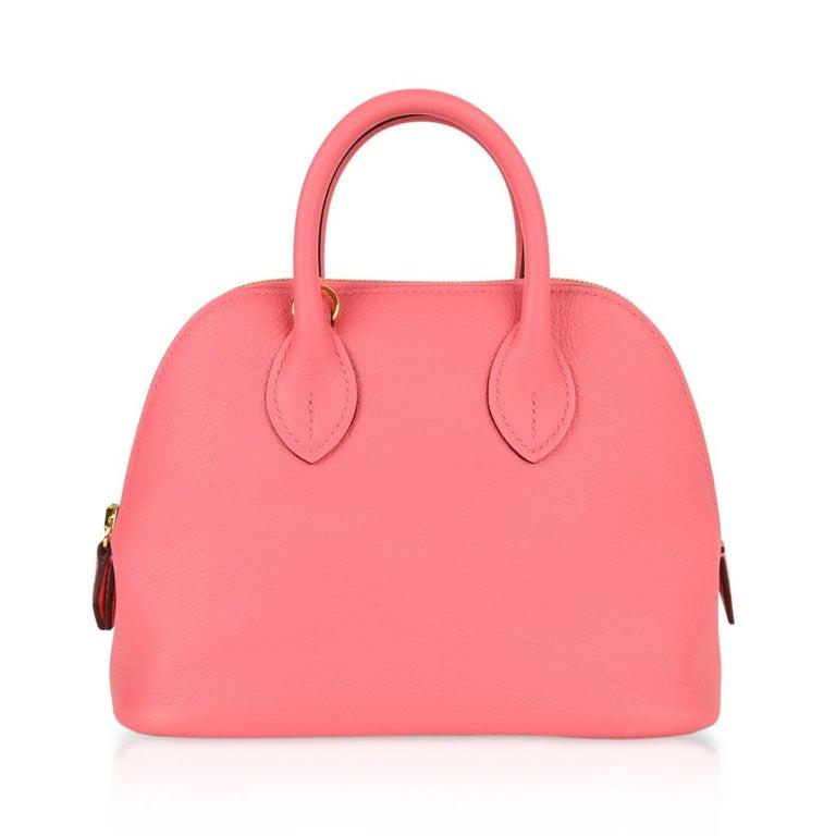 Hermes Mini Bolide 1923 Bag Rose Azalee Evercolor For Sale 3