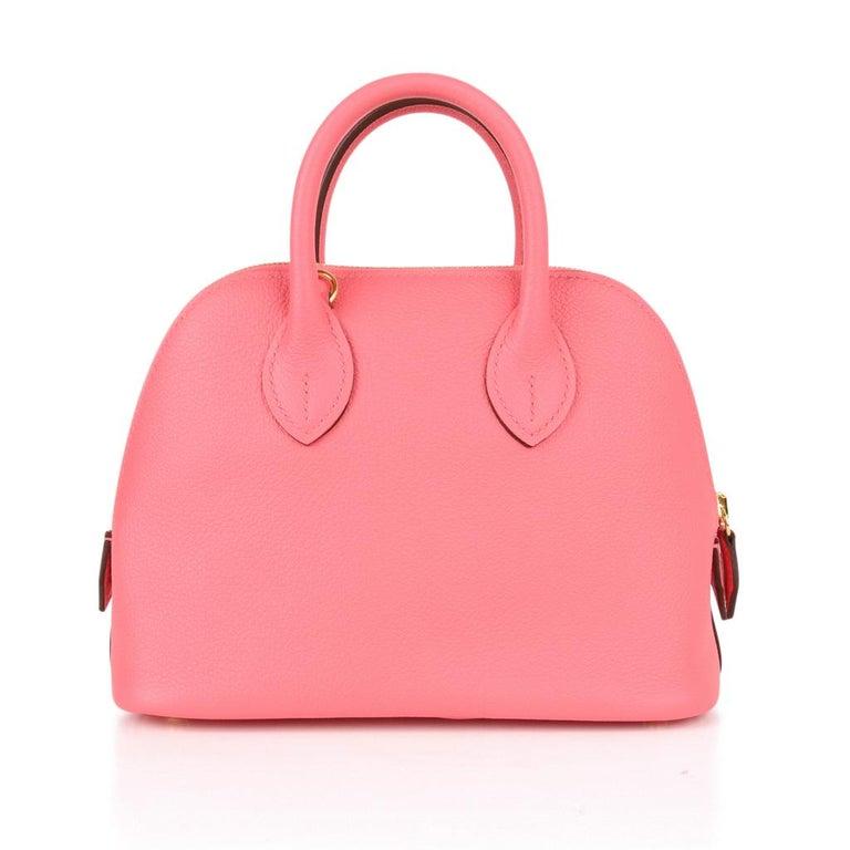 Women's Hermes Mini Bolide 1923 Bag Rose Azalee Evercolor For Sale