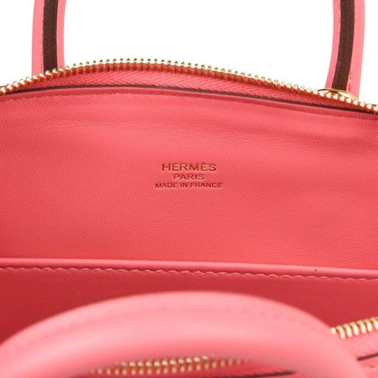 Hermes Mini Bolide 1923 Bag Rose Azalee Evercolor For Sale 1