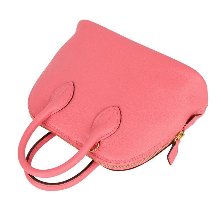 Pink Hermes Mini Bolide 1923 Bag Rose Azalee Evercolor For Sale