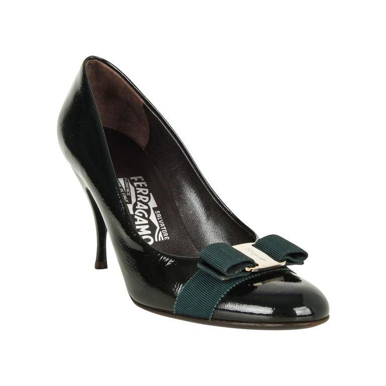 28f004301 Salvatore Ferragamo Pump Dark Green Charming Bow 37.5 / 7.5 For Sale ...