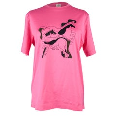 Hermes Men's T-Shirt Bubble Gum Brazilian Horses M New