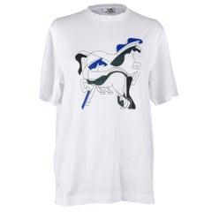 Hermes Men's T-Shirt Blanc Brazilian Horses M nwt