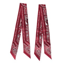 Hermes Twilly Entre Ciel Et Mer Bandana Set of Two Rouge Blanc Noir new