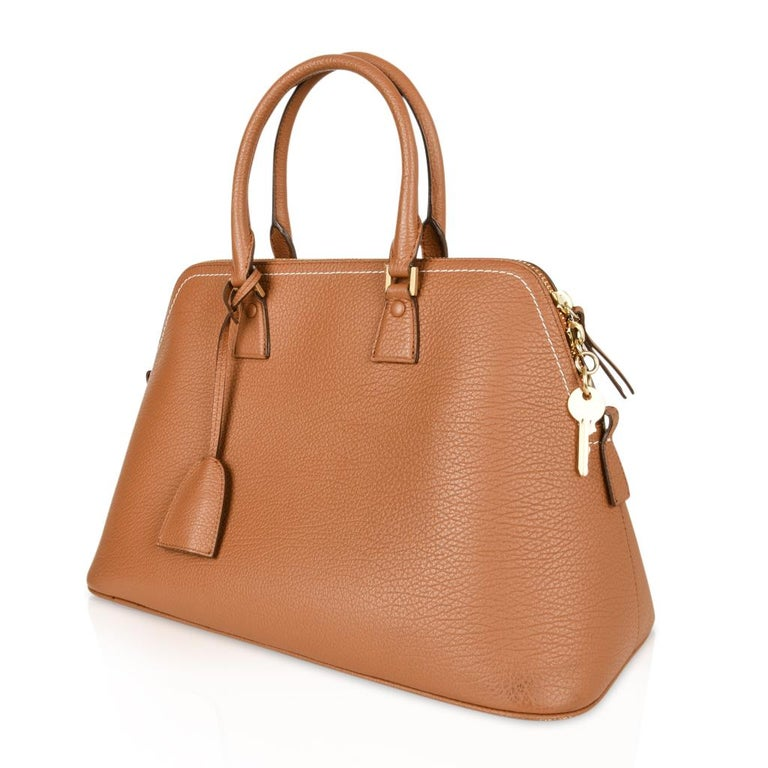 Maison Margiela Bag 11 British Racing Tan Tote  In Excellent Condition For Sale In Miami, FL