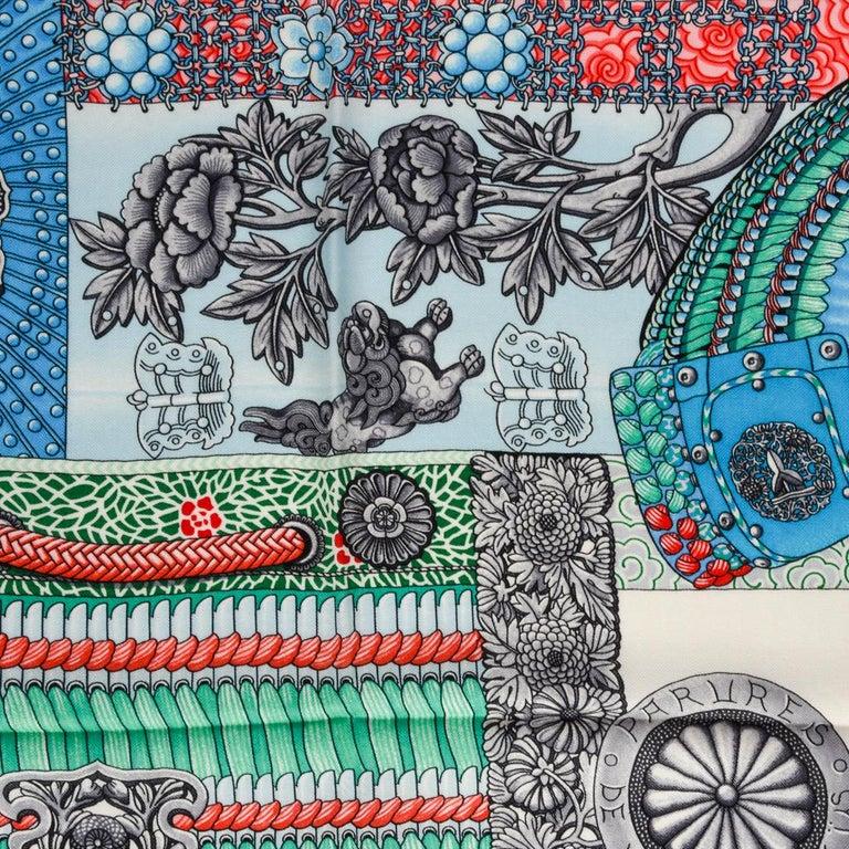 Hermes Shawl Parures de Samouraïs GM Cashmere Silk Blanc Turqouise Vert For Sale 7
