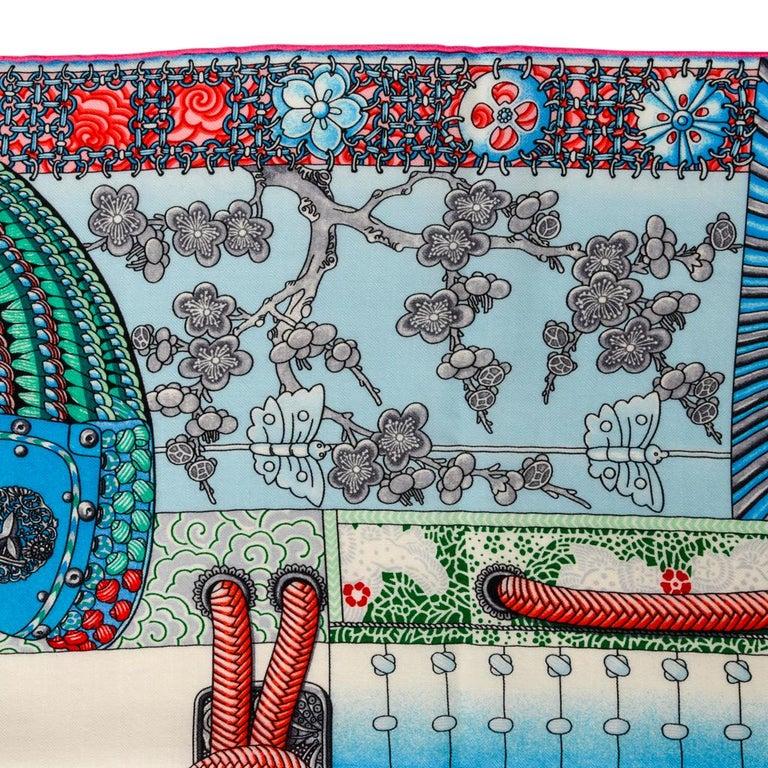 Hermes Shawl Parures de Samouraïs GM Cashmere Silk Blanc Turqouise Vert For Sale 9
