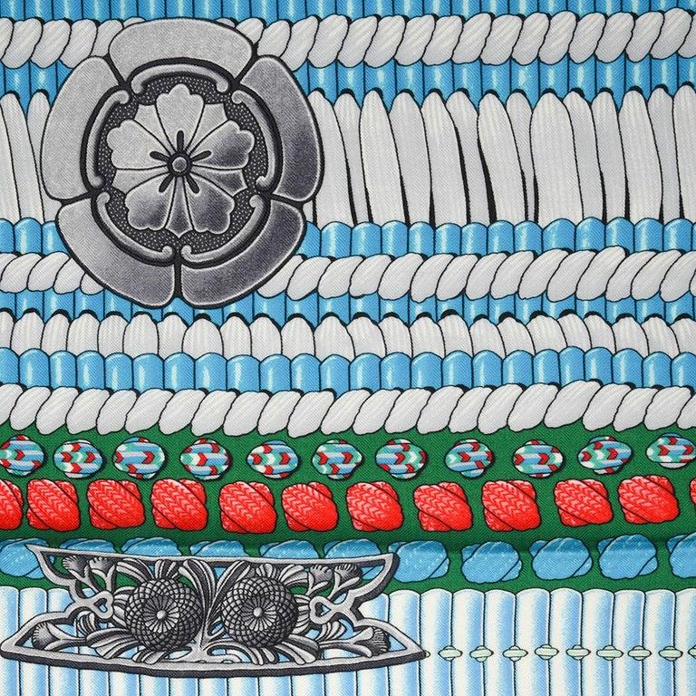 Hermes Shawl Parures de Samouraïs GM Cashmere Silk Blanc Turqouise Vert For Sale 10
