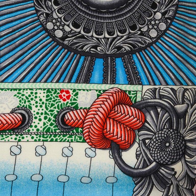 Hermes Shawl Parures de Samouraïs GM Cashmere Silk Blanc Turqouise Vert For Sale 6