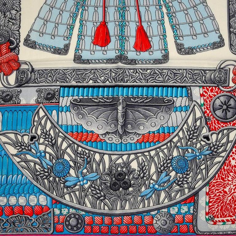 Hermes Shawl Parures de Samouraïs GM Cashmere Silk Blanc Turqouise Vert For Sale 1