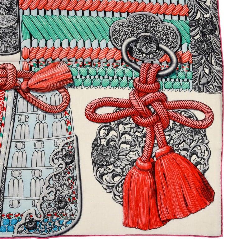 Hermes Shawl Parures de Samouraïs GM Cashmere Silk Blanc Turqouise Vert For Sale 11