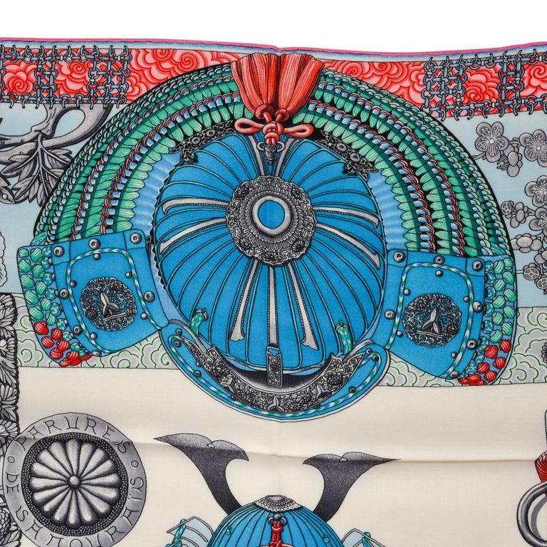 Women's Hermes Shawl Parures de Samouraïs GM Cashmere Silk Blanc Turqouise Vert For Sale