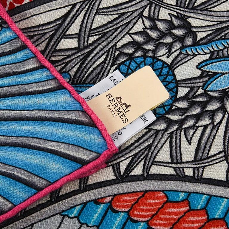 Hermes Shawl Parures de Samouraïs GM Cashmere Silk Blanc Turqouise Vert For Sale 15