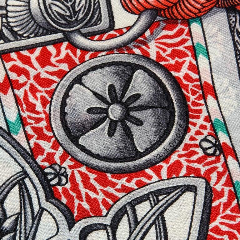 Hermes Shawl Parures de Samouraïs GM Cashmere Silk Blanc Turqouise Vert For Sale 14