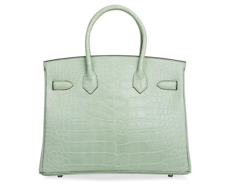 Hermes Birkin 30 Bag Vert D'eau Matte Alligator Palladium Hardware For Sale 3