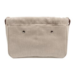 Hermes Fourbi 20 Handbag Pouch Canvas Barenia Leather Palladium Hardware