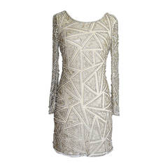 Naeem Khan Dress Crystal Diamante Silver Beaded Embellished Triangles 6 NW