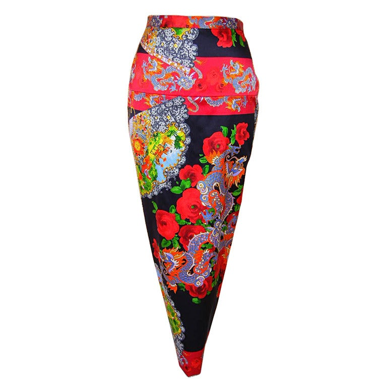 DOLCE&GABBANA skirt exotic asian print divine colours superb rear detail 40 6 For Sale