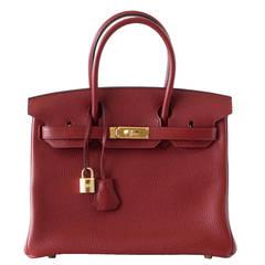 HERMES BIRKIN 30 bag ROUGE H gold hardware togo leather