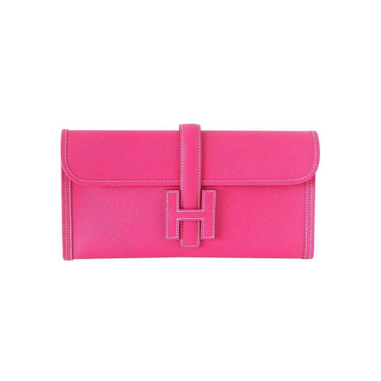 HERMES JIGE Clutch bag coveted Rose Tyrien epsom RARE new 1