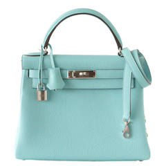 Hermes Kelly 28 Bag Fresh Atoll Togo Palladium