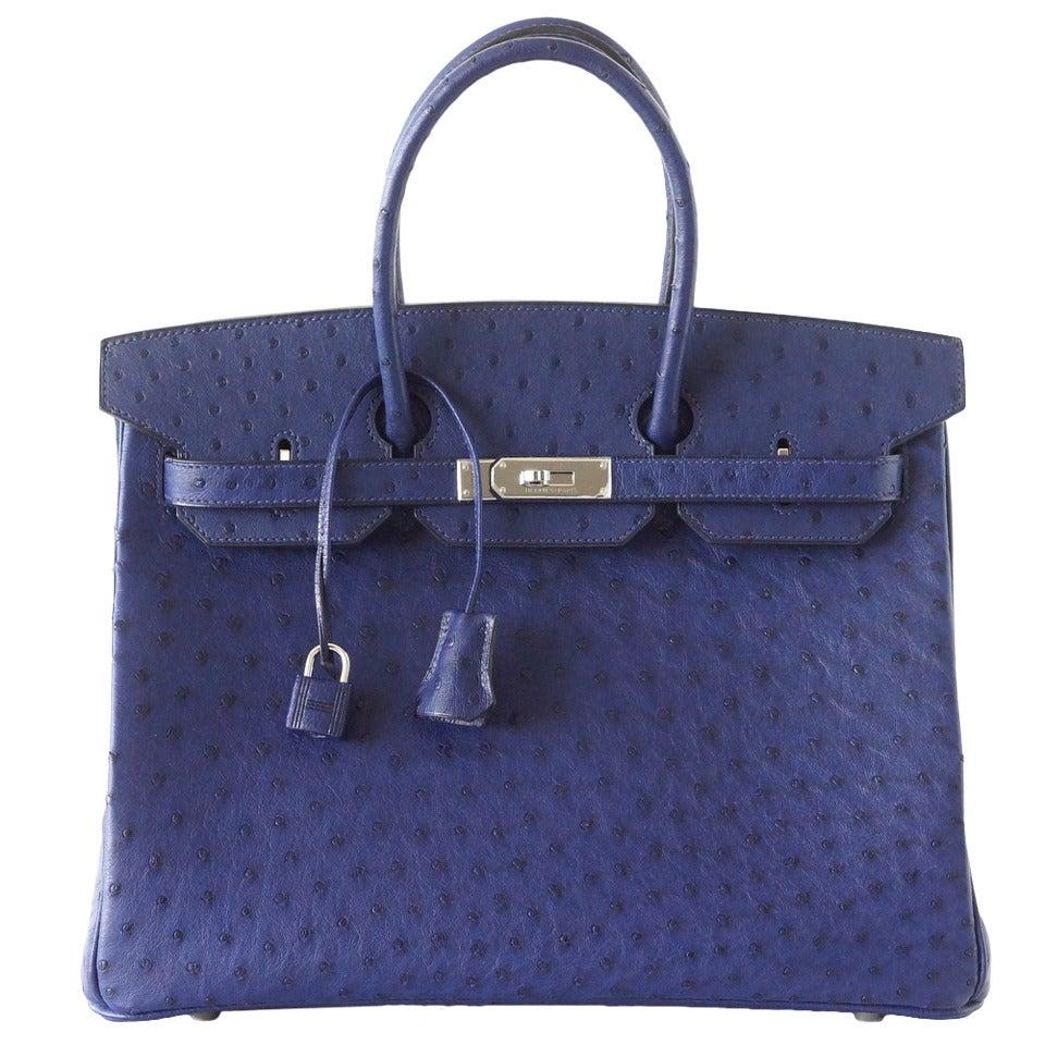 HERMES BIRKIN 35 Bag Rare Jewel Toned BLUE IRIS Ostrich Palladium Hardware 1