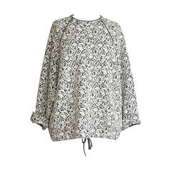 CHLOE sweater oversized grey / off white flower jacquard wool top M