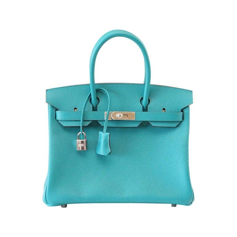 Hermes Birkin 30 Bag Rare Blue Paon Epsom Palladium Hardware